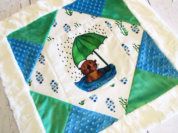SEA OTTER Baby MINKY Blanket Umbrella Water Bubbles Rain Receiving Stroller Shower