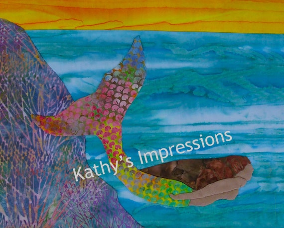 16x20 Beautiful Batik MERMAID Swimming in Ocean with Coral Reef at Sunset- Premium Metallic Photo Print