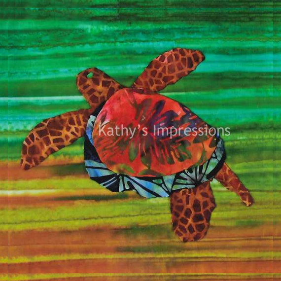 Tropical Sea TURTLE Fabric Quilt Panel Brown Green Square Ocean HONU Hawaii Warm Colors Celosia Velvet