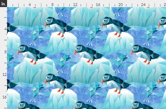 PUFFIN Bird  Fabric Fishing for Dinner Aqua Blue Mint Green White Ocean~ Save Endangered Species~ Panel or By the Yard