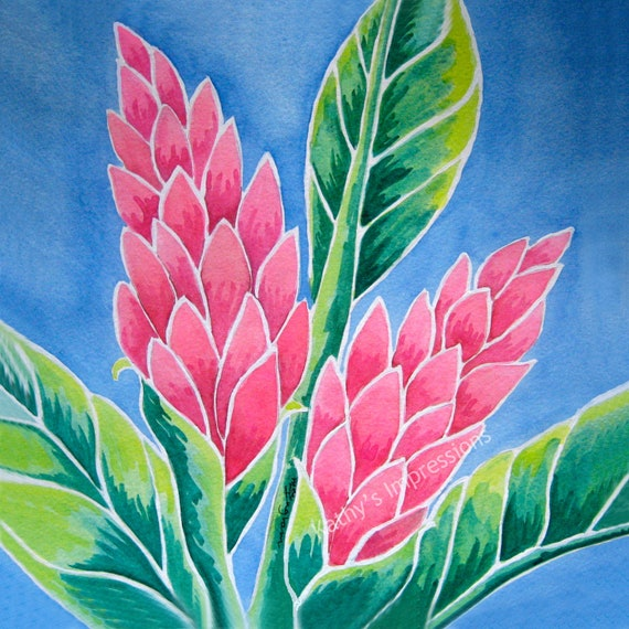 GINGER Flowers Fabric Quilt Square Pink Tropical Paradise Hawaii Floral Panel