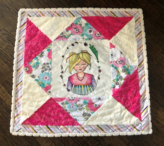 Girls Tropical MINKY Baby Quilt Blond Girl Flowers, Pink White Cuddle Blanket, Baby Shower, Crib, Play Mat, Toddler Snuggle Blanket