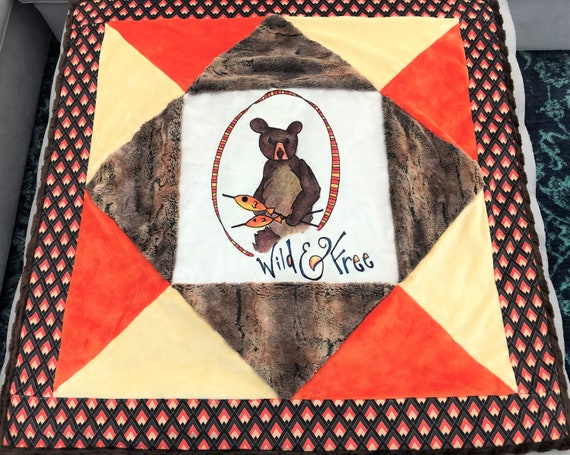 BOYS Woodland MINKY Baby Quilt Blanket Adventure Bear Fishing Outdoors Camping Brave Brown Orange Shower Crib Stroller Car Seat Camp Fire