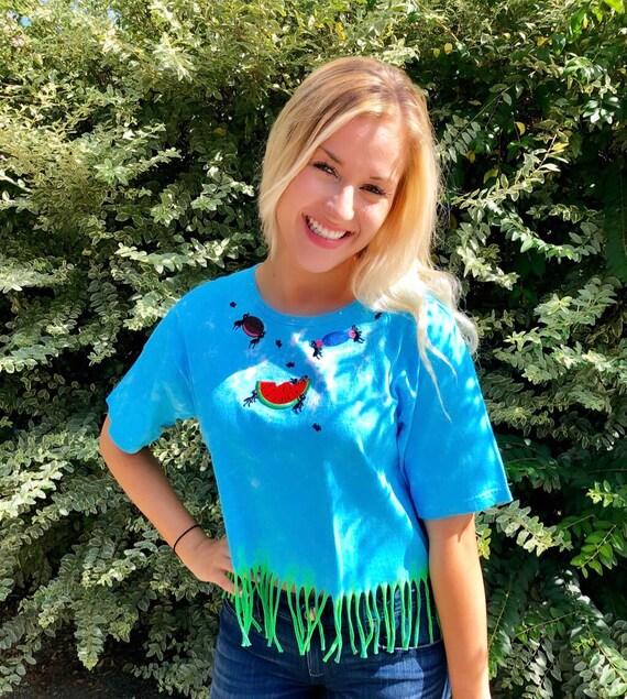 Summer PICNIC ANT PARTY Tie Dye Short Fringe Shirt~Bathing Suit Beach Crop Top Cover Up ~ M