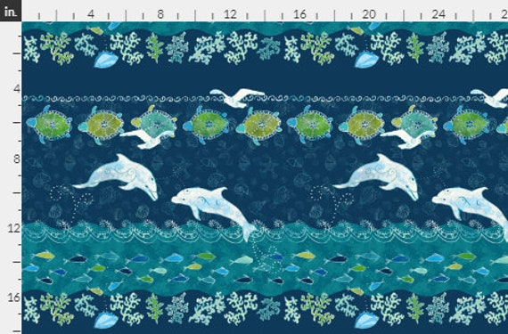 OCEAN Dolphins Sea Turtles Fabric Green Blue Water Coastal Tropical Beach~ By the Yard
