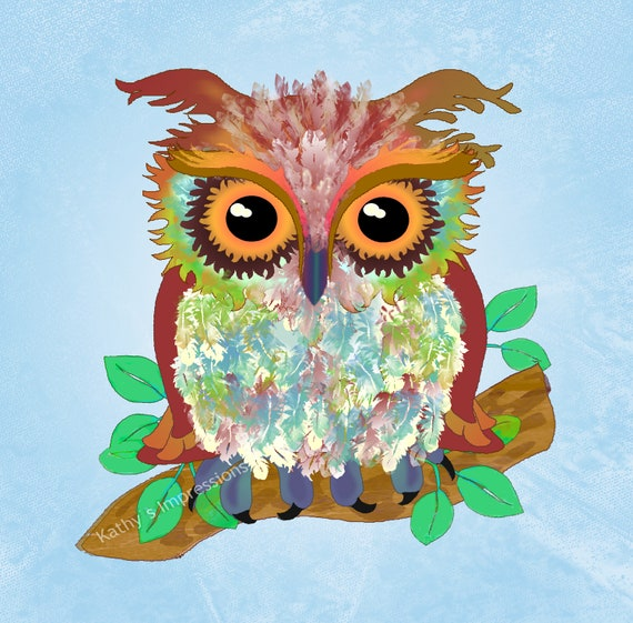 Watercolor OWL Fabric Quilt Square Panel~ Blue Skies Painted Woodland Owl Printed Fabric Block