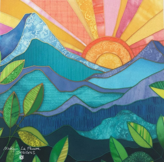 Sunrise in Paradise Fabric Panel Mountains ~ Hawaii Island Sunrise Sunset Tropical Patchwork Fabric Quilt Square ~ Outdoors Hiking Nature