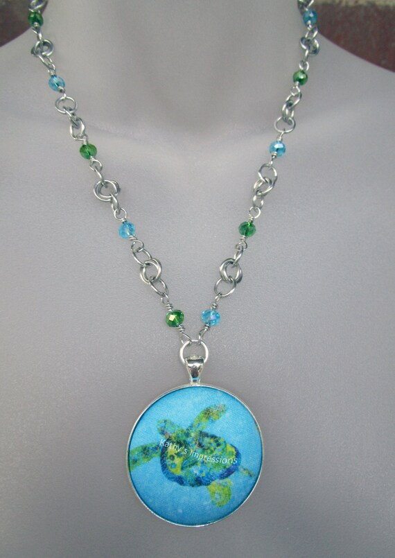 Choice of Beaded Tropical Beach Sea Turtle Fabric Pendant Batik Art Necklace- Colorful AB Beads & Non Tarnish Chainmaille