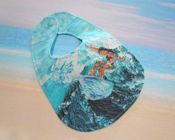 Surf's Up Surfer Girl Baby Bib Turquoise Aqua Blue ~ Surfing Beach Hawaii Paradise Cotton Flannel Bib Baby Shower Gift