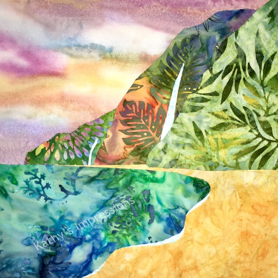 Beach PASTEL Watercolor Fabric Panel Sunset Sky Batik Quilt Block Tropical Hawaii Polihale Kauai