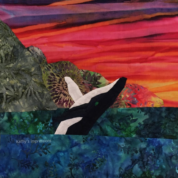 Humpback Whale at Sunset Fabric Quilt Panel Tropical Hawaiian Batik, Whale Colorful Purple Red Yellow Sunset Evening Sky Square Block