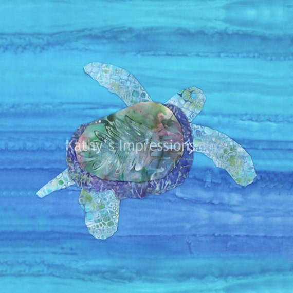 SEA TURTLE Blue Ocean Watercolors Fabric Quilt Square Hawaiian HONU Water Sea - Organic Cotton Sateen or Minky