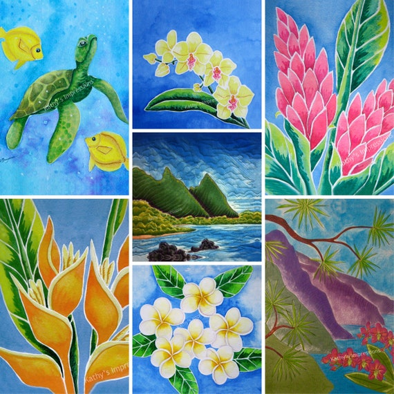 Tropical Beach Sea Turtle Lea Ingram Fabric Quilt Panel Set~ Flowers Rainbow Lighthouse Green Church Rooster Bali Hai Kauai Hawaii