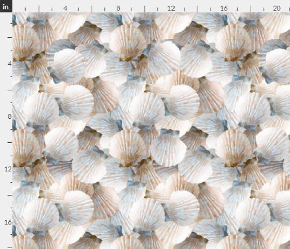 Beach SHELLS Fabric Tan White Scallop Tropical Coastal Seaside Sea Shore~ Quilt Square or Panel