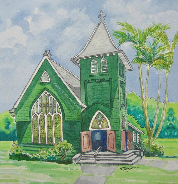 HANALEI CHURCH Fabric Quilt Panel Kauai Palm Trees Green Tropical Paradise Hawaii Square Landmark