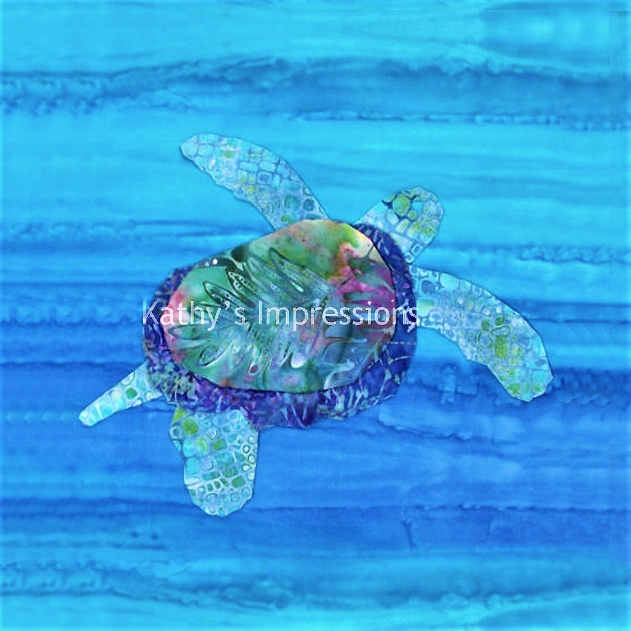 26.5 Minky SEA TURTLE Fabric Quilt Top Panel~ Light Blue Ocean Water~ Baby Shower DIY