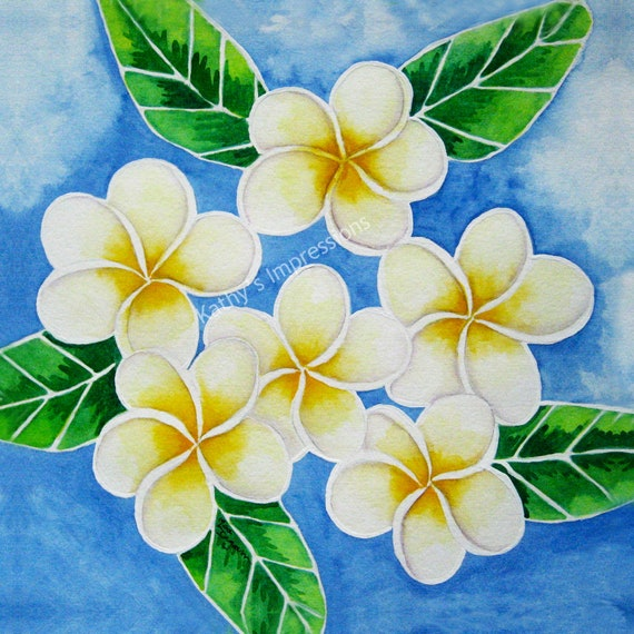 PLUMERIA Flowers Fabric Quilt Square Yellow Highlights Tropical Paradise Hawaii Floral Panel
