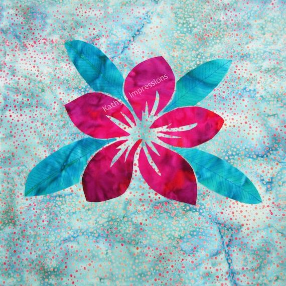 Tropical PLUMERIA Flower Fuchsia Pink Fabric Quilt Square Hawaiian Organic Cotton Sateen~ NEW