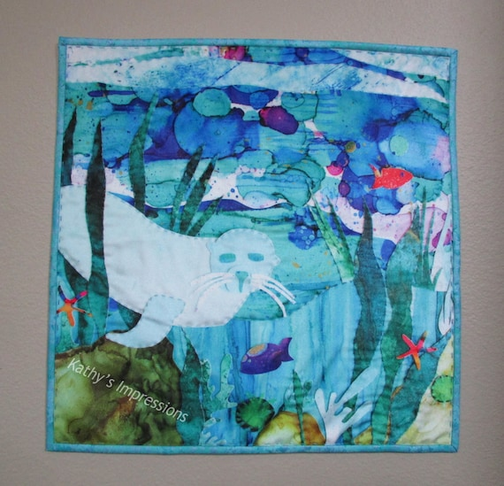 """SEAL Under the Sea Fabric Art Quilt Velvet Wall Hanging~ Alcohol Ink Seal Art Quilt Tropical Fish Reef Big Stitch Hand Quilted~ 18"""""""