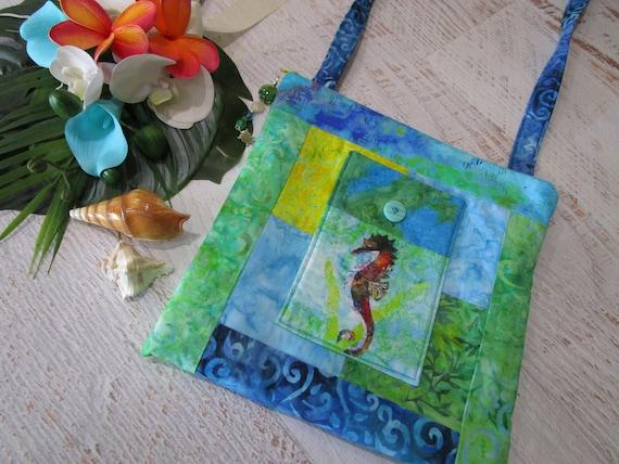 Seahorse Sea Turtle Tropical Beach Shoulder Bag~ Under the Sea Turtle Angel Fish Seahorse Purse~ Sea Life Beach iPad Bag