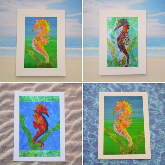 Choice of Seahorse Note Card, Sea Life Note Card, Beach Ocean Seahorse Colorful Cards, Tropical Hawaiian Under the Sea Note Cards