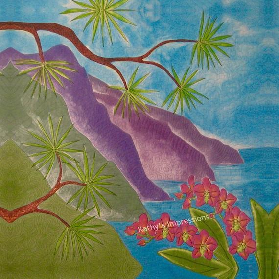 Hawaiian Coast Orchideen Stoff Quilt Platz Panel Lila Berge Na Pali Traum Turkis Himmel Ozean Wasser