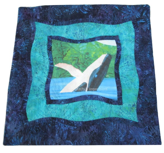 """Humpback Whale Pillow Cover, Beach, Coastal, Under the Sea, Tropical, Quilted, Pillow Cover, Batik, Hawaiian, Blue, Green - Fits 18"""" Pillow"""