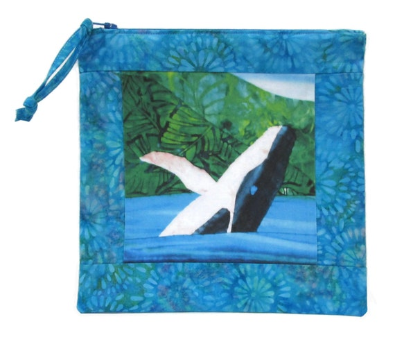 Humpback Whale Tall Zipper Pouch Batiks Hawaii Cosmetic Bag Organize Supplies Coastal Beach Ocean Padded Case