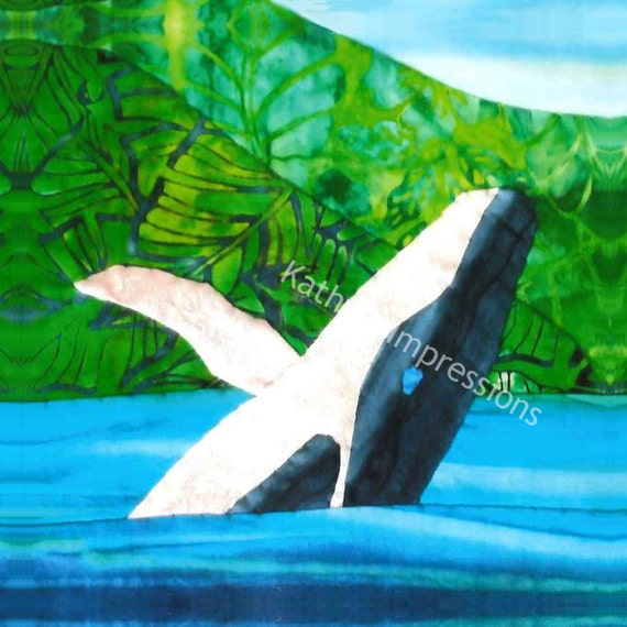 Jumping HUMPBACK WHALE Breaching Ocean Water Fabric Quilt Square Panel Hawaii Organic Cotton Sateen