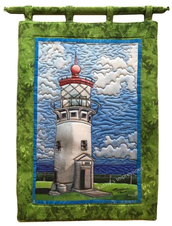 Kilauea Lighthouse Fabric Quilt Panel Square Kauai Tropical Paradise Blue Sky Hawaii Block Whale Watching Birds