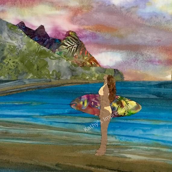 Surfer Girl Fabric Quilt Square Pink Purple Sunset Evening Watercolor Sky Tropical Hawaiian Batik Panel Block