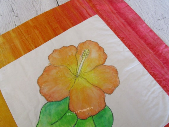 Orange HIBISCUS Flower Pillow Cover Tropical Painted Quilted Case Peach Pink Yellow Batik Fabric