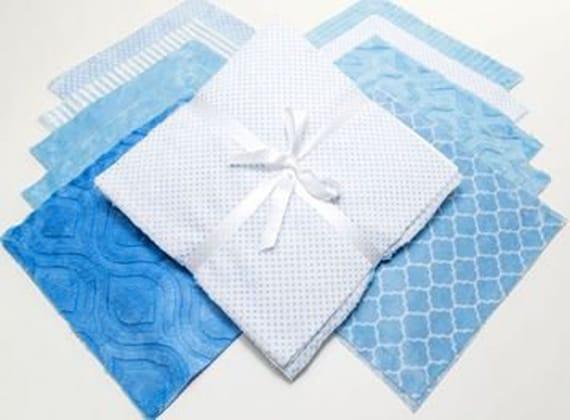 "Shannon Fabrics BLUE MOON Cuddle Cake~ (20) 10"" MINKY Fabric Quilt Squares"