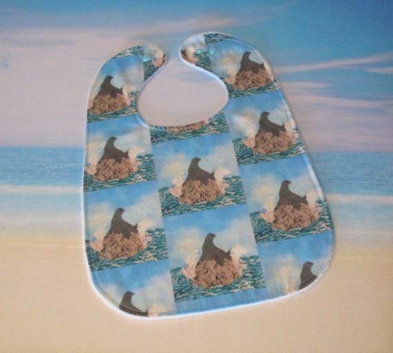 Sea Lion Baby Bib Girls Boys Chillin on Rock Ocean Splashing ~ Coastal Seal Cotton Minky Bib Baby Shower Gift