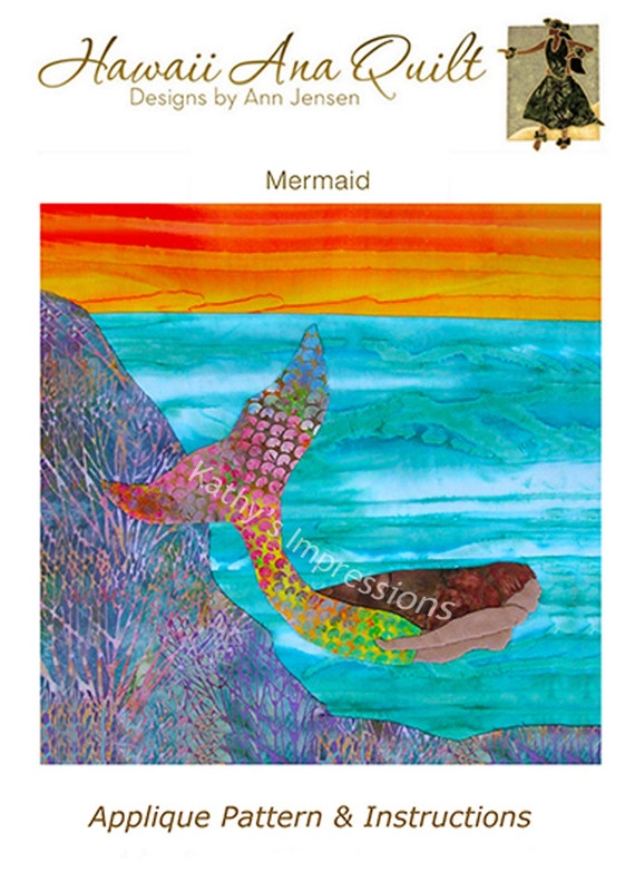 Tropical MERMAID Quilt Pattern Swimming Ocean Coral Reef Sunset Hawaii Batik Applique