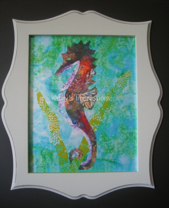 16x20 Tropical SEAHORSE Photo Print Aqua Ocean Water Batik - Premium Metallic Shimmer