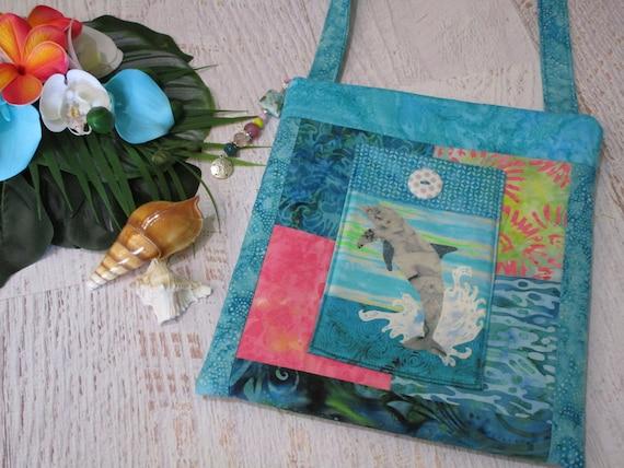 Dolphin Lanikai Beach Batik Watercolor Shoulder Bag~ Tropical Beach Hawaiian Sunset Batiks Purse~ Beach Lover iPad Bag