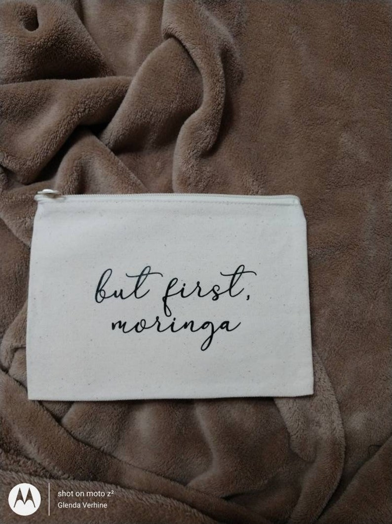 But First Moringa 6x9 Canvas Zipper Pouch For Moringa Lovers