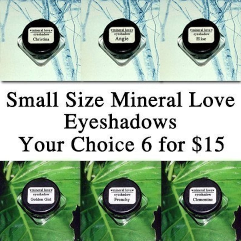 Six Small Size Vegan Eyeshadows Your Choice of Colors image 0
