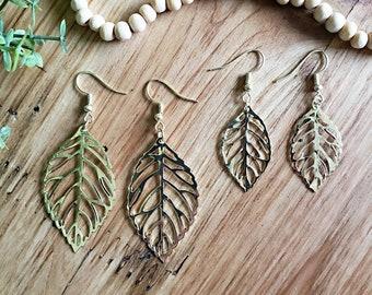Women's Leaf Earrings, Leaf Earrings, Gold Earrings, Boho Earrings, Drop & Dangle Earrings, Minimalist Earrings, Women's Small Leaf Earrings