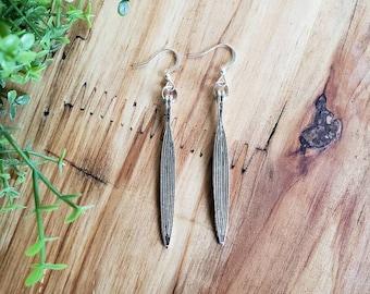 Women's Silver Leaf Earrings, Leaf Earrings, Silver Earrings, Boho Earrings, Joanna Gaines Earrings, Minimalist Style, Silver Drop Earrings