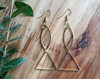 Women's Gold Geometric Earrings, Geometric Earrings, Gold Earrings, Modern Drop Earrings, Simple Earrings, Minimalist Earrings