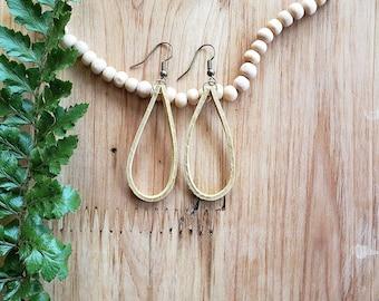 Women's Yellow Leather Earrings, Leather Earrings, Boho Earrings, Drop Earrings, Modern Earrings, Minimalist Earrings, Teardrop Earrings