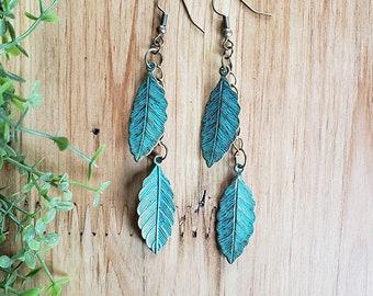 Women's Leaf Earrings, Leaf Earrings, Patina Earrings, Boho Earrings, Joanna Gaines Earrings, Minimalist Style, Drop Earrings