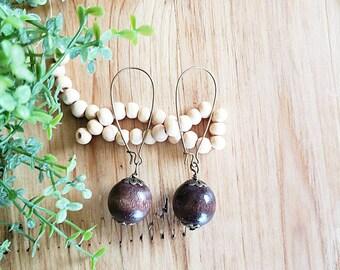 Women's Wood Earrings, Wood Earrings, Boho Earrings, Drop & Dangle Earrings, Minimalist Earrings, Women's Wood Drop Earrings