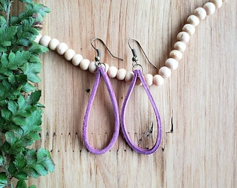 Women's Purple Leather Earrings, Leather Earrings, Boho Earrings, Drop Earrings, Modern Earrings, Minimalist Earrings, Teardrop Earrings