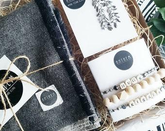 Christmas Gift Box, Women's Grey and Black Herringbone Scarf, Christmas Bracelet Set, Gift Set, Gifts for her