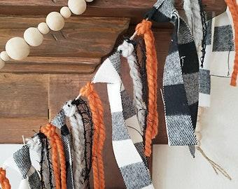 Rustic garland/ fall rag garland / fall home decor / fall garland / fireplace garland / Halloween garland / Buffalo check Garland
