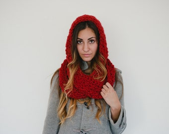 Red hooded scarf, red scarf, chunky hooded scarf, chunky scarf, winter, spring scarf, fall, winter, valentins day