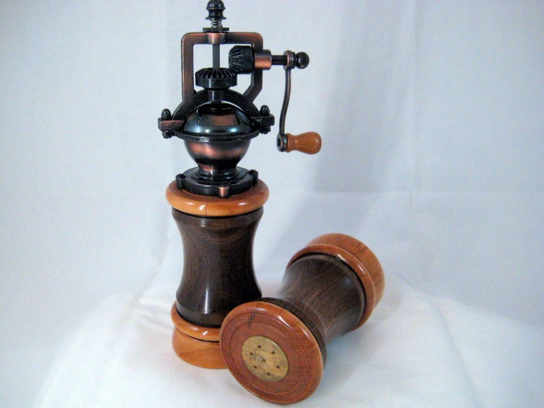 Antique Style Pepper Mill and Salt Shaker set Handmade Black Walnut and Cherry Wood Cooper Mechasim